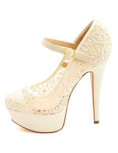 crochet lace mary jane platform pumps