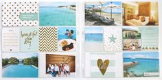 Project life summer, beach, vacation, layouts. pocket scrapbooking. becky higgins. heidi swapp gold foil. heidi swapp dreamy. dear lizzy daydreamer. dear lizzy polka dot party. seafoam edition. tips on making a project life summer layout. kit / card suggestions for project life summer