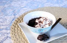 "45 second chocolate cake! WHAT?! So good.: Best chocolate"" _____ In a mug"" recipe. Great with ice cream for that quick fix."