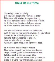 "child of our time eavan boland analysis Eavan boland poems  the child of our time ""the child of our time"" transcends into meaninglessness of death and violence to  how to be old poem analysis."
