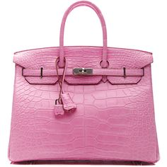 Heritage Auctions Special Collections 35Cm Matte 5P Bubblegum Pink... ($79,500) ❤ liked on Polyvore featuring bags, handbags, purses, hermes, matte bubblegum pink, alligator handbag, leather handbag purse, pink handbags, leather man bag and hand bags