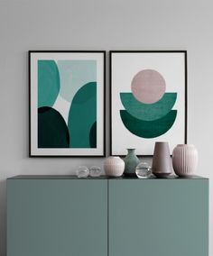 Green shapes - 50x70Halfmoon green - 50x70...