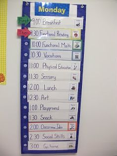 Daily Schedule. Repinned by http://www.pinterest.com/autismclassroom/ Autism Classroom #visuals #autism #classroom