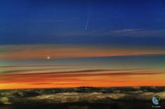 """12 ISON, THE DAWN COMET: Comet ISON is plunging toward the sun and brightening as it heads for a perilous close encounter on Nov. 28th. Yesterday morning, with the """"final countdown"""" clock at T-7 days, Juan Carlos Casado photographed the sundiver over the Teide Observatory in the Canary Islands."""