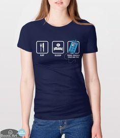 "This funny Doctor Who T-Shirt with Eat, Sleep and ""Travel through space and time"" icons was made with Whovian fans in mind. Put on this sci-fi geek tee and show your love for the Doctor(s). It makes a great gift for sci fi fans and lovers of geek TV."