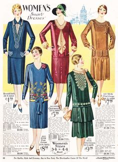 Women's Dresses from a 1928 catalog #vintage #1920s #fashion