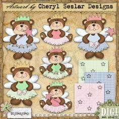 Fairy Bears 1 - Cheryl Seslar Country Clip Art