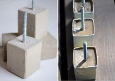 Another interesting thing you can do with concrete is a drawer pull. Well, you'll probably need to make more than one. It's easy: you need small cardboard boxes from light bulbs or things like that, concrete and screws