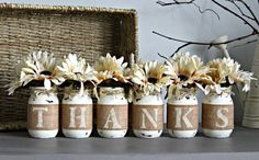 This is a custom designed & hand-painted set of 6 pint size Mason Jars wrapped in burlap to spell out THANKS . Each jar is hand painted, lightly distressed and sealed. Also each jar is then wrapped wi