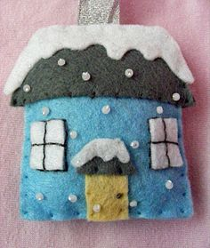 """♥ """"Winter House"""" in felt with seed beads sewn on to look like snow.   Made by Shell at Bits and Bobs in Cheshire, England. ♥"""