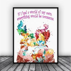 Alice in Wonderland Tea Party Watercolor Art Print Poster. Disney Quotes For Home Decoration, Nursery and Kids Room Decor.