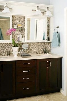Traditional Master Bathroom With Flush Stone Tile Floors Wall Mounted Above Mirror Double VanityDouble