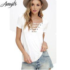 Awaytr New Fashion Camiseta Feminina Autumn Women TShirts 2016 Sexy Deep V Neck Bandage Shirts Black Tops&Tees Plus Size S-XXL #Discount #Sleeveless
