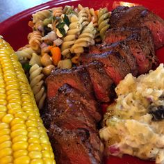 Marinated Dry Rubbed Grilled Tri-Tip Steak, Yellow Corn on the Cob, Homemade Potato and Pasta Salads