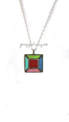 Stained Glass Pendant Necklace  16 Inch Necklace by GinnysJunk