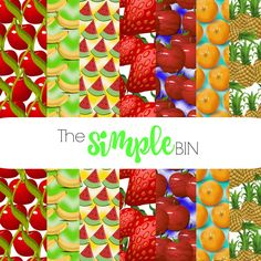 Fruit Salad  Fruit   Digital Scrapbook Paper  by TheSimpleBin