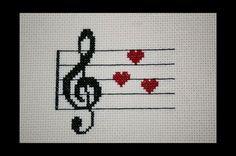 Clave de sol música amor PDF cruz puntada por BlueTopazStitchery