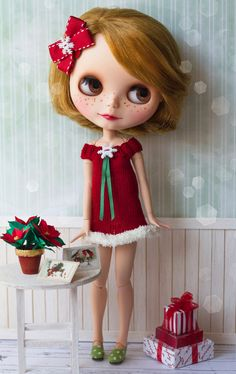 Blythe Santa dress Blythe Christmas dress red with by Katjuss