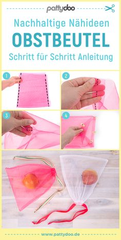 Sewing instructions for sustainable household helpers PATTYDOO- Nähanleitung für nachhaltige Haushaltshelfer Sewing Tutorials, Sewing Projects, Sewing Patterns, Sewing Ideas, Watercolor Fruit, Makeup Step By Step, Fruit Pattern, Fancy Hairstyles, Sewing Clothes