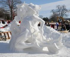 Lake Geneva, Wisconsin, a summertime vacation spot for many Chicago-area residents, reveals its artsy side each  February, when snow sculptures nestle on the frozen shoreline.
