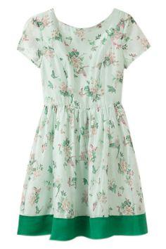 ROMWE | ROMWE Floral Print Elastic Chiffon Green Dress, The Latest Street Fashion