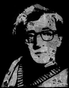 Woody Allen spray-painted over vintage articles about sex, therapy, jazz, Jewish mothers, Bergman, Keaton, and more.