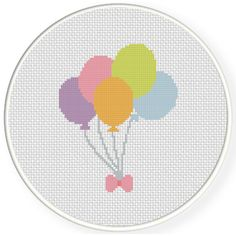 Charts Club Members Only: Pastel Balloons Cross Stitch Pattern