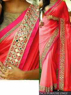 Buy Pink color Nylon georgette designer party wear saree party wear saree in UK, USA and Canada