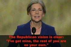 Elizabeth Warren (D-MA) Harvard Professor. Partial Bio: Public Schools, Community College. Candidate for Senate. Vote Democratic. Vote Obama.