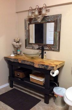 DIY vanity with a live edge plank counter top. Most amazing rustic bathroom … DIY vanity with a live edge plank counter top. Most amazing rustic bathroom that I've seen. Small Bathroom Furniture, Rustic Bathroom Vanities, Rustic Bathrooms, Bathroom Ideas, Rustic Vanity, Modern Bathroom, Bathroom Mirrors, Wood Bathroom, Bathroom Small