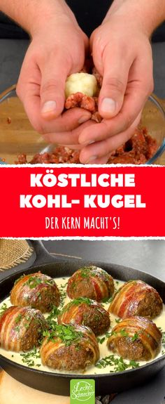 Cauliflower balls with minced meat and bacon - Lachs Rezepte Meat Recipes, Cooking Recipes, Pizza Recipes, Delicious Recipes, Roasted Cabbage Wedges, Quick Vegetarian Meals, Curry Spices, Cheesy Sauce, 1200 Calorie Diet