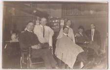 Vintage Real Photo RPPC Postcard BARBER SHOP 3 Men in Chairs w/ Barbers c1910s