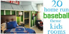 """Love the curtains with """"stitching"""" on them!  20 home run baseball kids rooms - Design Dazzle"""