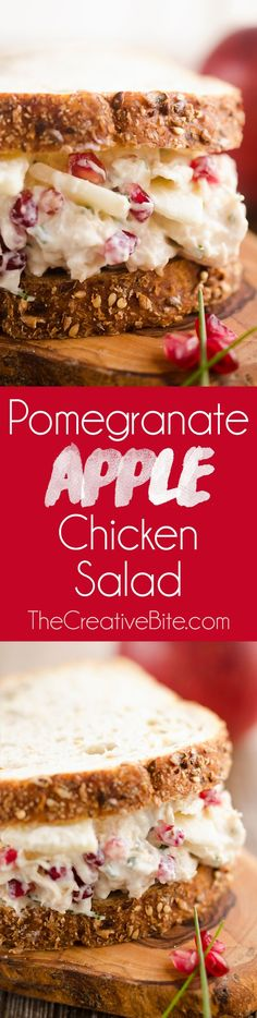 Pomegranate Apple Chicken Salad is a healthy recipe bursting with flavor and texture. This easy 10 minute lunch is made with Greek yogurt and fruit for a lighter meal you will love.