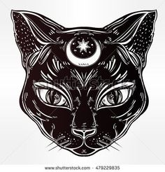 Black cat head portrait with moon. Ideal Halloween background, tattoo art, Egyptian, spirituality, boho design. Perfect for print, posters, t-shirts and textiles. Vector illustration. and like OMG! get some yourself some pawtastic adorable cat shirts, cat socks, and other cat apparel by tapping the pin!