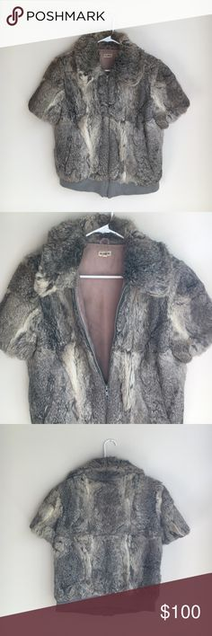 Rabbit fur coat Short sleeve rabbit fur coat - vintage but adorable with a pair of black skinnies and booties! Jackets & Coats