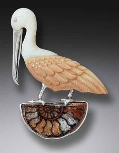 Pelican Pendant/Pin with Fossilized Ivory by Zealandia Designs - Ocean Inspired Jewelry available at Baytowne Jewelers