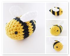 Crochet bee. FREEBIE, aww http://yellowpinkandsparkly.blogspot.nl/2009/09/fuzzy-little-friends.html thanks so for sharing xox more free here: ☆ ★   https://www.pinterest.com/peacefuldoves/