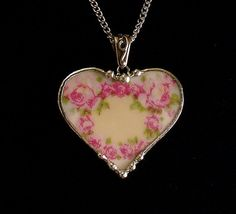 Wreath of roses antique German porcelain. Heart pendant made from a broken plate by Dishfunctional Designs