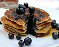 Blueberry Coconut Flour Pancakes from Primally Inspired #paleo #glutenfree