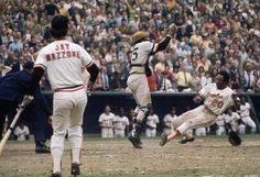 Frank Robinson scoring during the 1971 World Series.