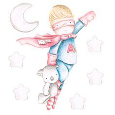 Decoración infantil Il Mondo di Alex, Vinilos - Stickers efecto pintado a mano, SUPER HEROE II... personalizado con nombre y a medida.