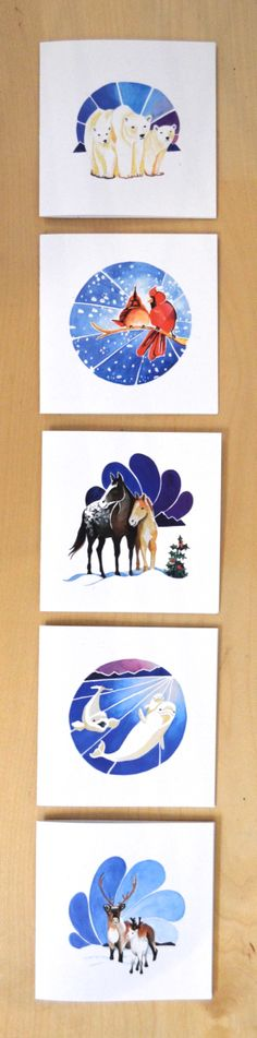 Holiday Cards. Canadian Animal Families, inspired by winter landscapes. From a watercolour series by Vancouver artist Marisa Pahl.