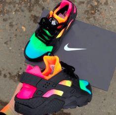 Nike Shoes OFF!> pitch-black-custom-nike-air-huarache-x-rainbow-eyeconicwear