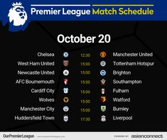 Manchester City, Manchester United, Afc Bournemouth, Match Schedule, Huddersfield Town, Cardiff City, Premier League Matches, Burnley, Fulham