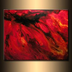 Modern Red Black Abstract Painting On Canvas By Henry Parsinia