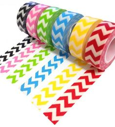 Great for labeling books and which boxes they go in, for the students who  can't quite read yet.  Washi Tape Trendy Tape Chevron Decorative Trendy Paper Packaging Tape - 10 yards - YOU PICK COLORS - red yellow blue green pink black. $2.99, via Etsy.