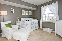 Gray walls and white furniuture. This would be cute! : ) of course different type of furniture, but cute colors.