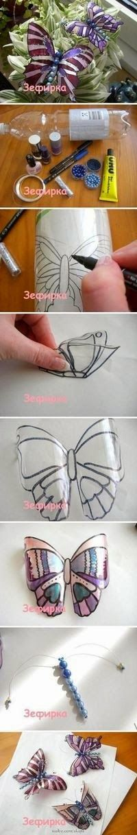 mariposas plásticas con envases de gaseosa..
