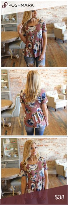 """Mauve Floral Print Babydoll Tunic Modeling size small   95% Rayon 5% Spandex   BUST: S-18"""", M-19"""", L-20"""".   LENGTH: S-27"""", M-28"""", L-29"""".   IRPD11070202.2681P Infinity Raine Tops Tunics"""